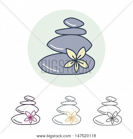 Modern vector line icon of hot stone massage. Spa salon linear logo. Outline symbol for thai massage. Elements - stones flower.
