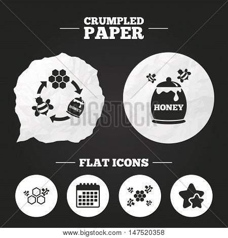 Crumpled paper speech bubble. Honey icon. Honeycomb cells with bees symbol. Sweet natural food signs. Paper button. Vector