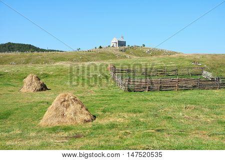 small church in rural landscape, Montenegro