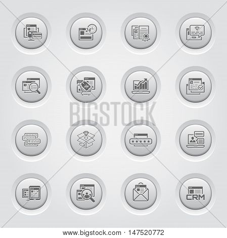 Shopping and Marketing Icons Set. Button Design. Online payment and shopping symbol, discount and one time offer symbol, traffic icon and internet marketing, crm icon and e-mail marketing symbol.