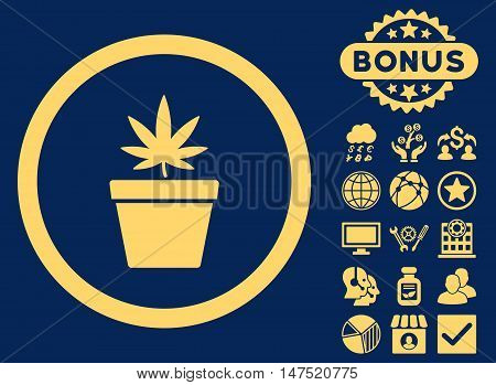 Cannabis Pot icon with bonus design elements. Vector illustration style is flat iconic symbols, yellow color, blue background.