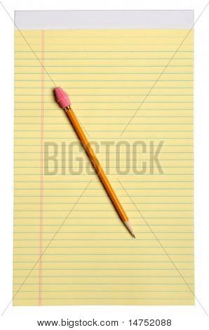Yellow note pad with yellow pencil and eraser - With clipping path