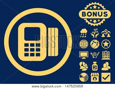 Card Processor icon with bonus pictogram. Vector illustration style is flat iconic symbols, yellow color, blue background.