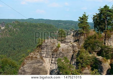 View on a sandstone hill in the Saxon Switzerland National Park. Germany