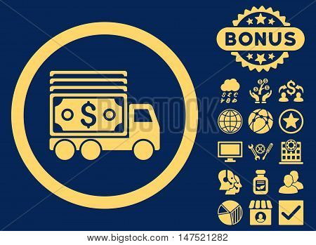 Cash Lorry icon with bonus elements. Vector illustration style is flat iconic symbols, yellow color, blue background.