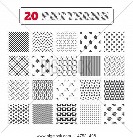 Ornament patterns, diagonal stripes and stars. HVAC icons. Heating, ventilating and air conditioning symbols. Water supply. Climate control technology signs. Geometric textures. Vector