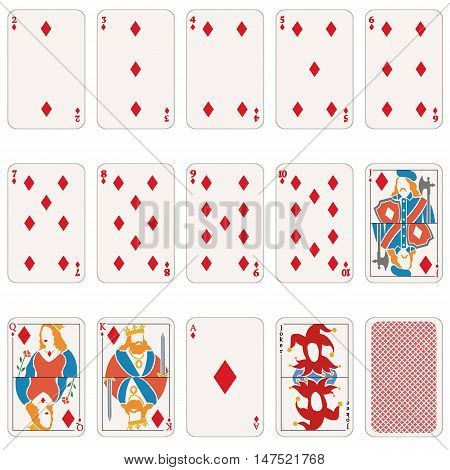Vector Set Of Diamond Suit Playing Cards