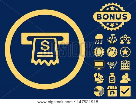 Cashier Receipt icon with bonus pictures. Vector illustration style is flat iconic symbols, yellow color, blue background.