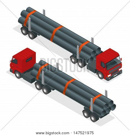 Isometric Truck tractor with flatbed trailer hauling pipe. Vector infographic element