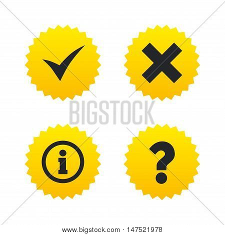 Information icons. Delete and question FAQ mark signs. Approved check mark symbol. Yellow stars labels with flat icons. Vector