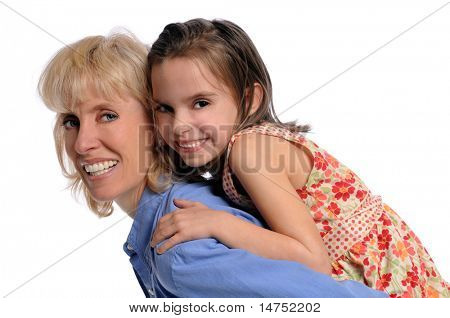 Portrait of mother and daughter playing together isolated over white background