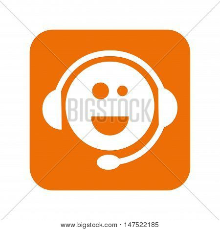 face smiling support sign with headset element. vector illustration