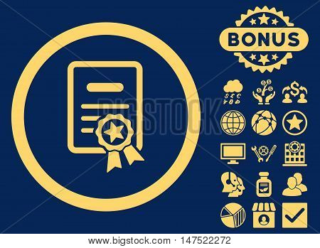 Certified Diploma icon with bonus design elements. Vector illustration style is flat iconic symbols, yellow color, blue background.