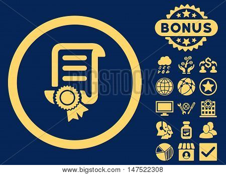 Certified Scroll Document icon with bonus pictogram. Vector illustration style is flat iconic symbols, yellow color, blue background.