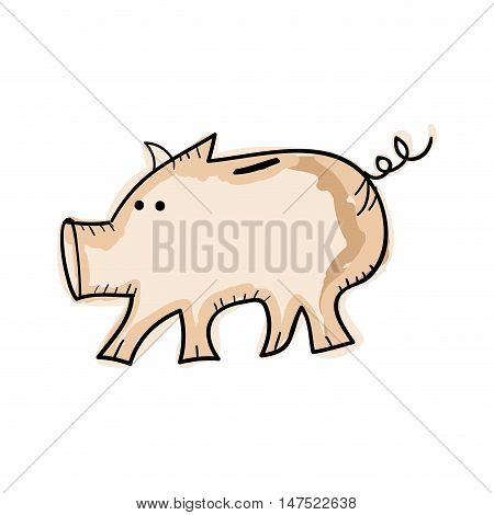 piggy money box cartoon. draw design. vector illustration