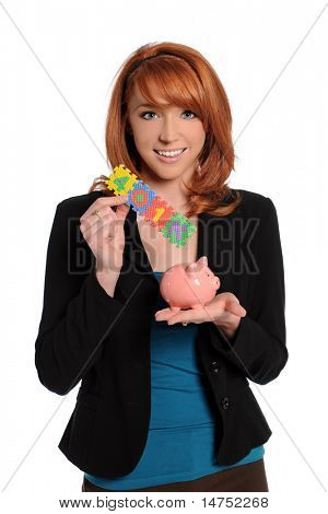 Young woman holding 401K sign and piggy bank isolated over white background