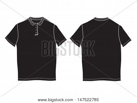 Vector illustration polo shirt template. Front and back views. Short sleeve