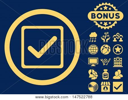 Checkbox icon with bonus elements. Vector illustration style is flat iconic symbols, yellow color, blue background.