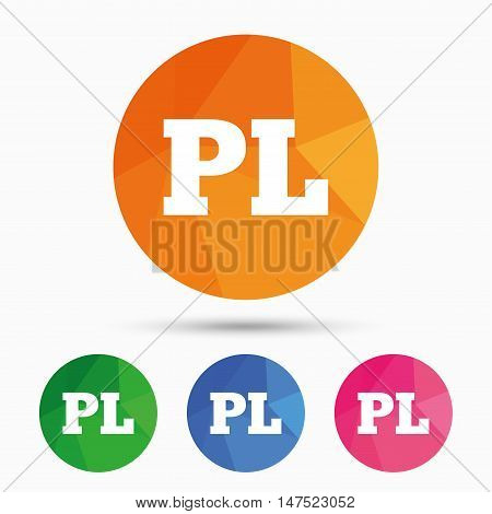 Polish language sign icon. PL translation symbol. Triangular low poly button with flat icon. Vector