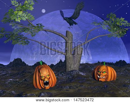 Halloween pumpkins, dead tree and crow raven by night with full moon - 3D render