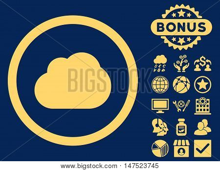 Cloud icon with bonus images. Vector illustration style is flat iconic symbols, yellow color, blue background.