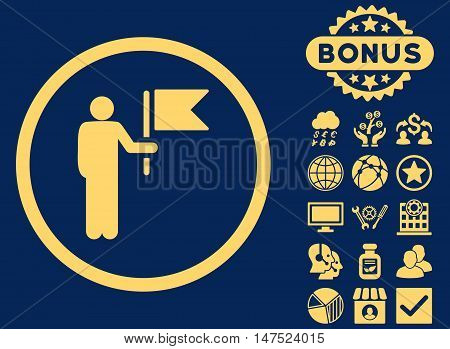 Commander icon with bonus pictogram. Vector illustration style is flat iconic symbols, yellow color, blue background.
