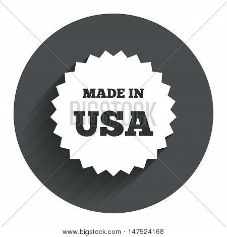 Made in the USA icon. Export production symbol. Product created in America sign. Circle flat button with shadow. Modern UI website navigation. Vector