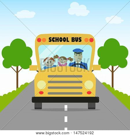 Children go to school by school bus. There are school bus, bus driver, pupils, road and trees in the picture. Flat style vector illustration