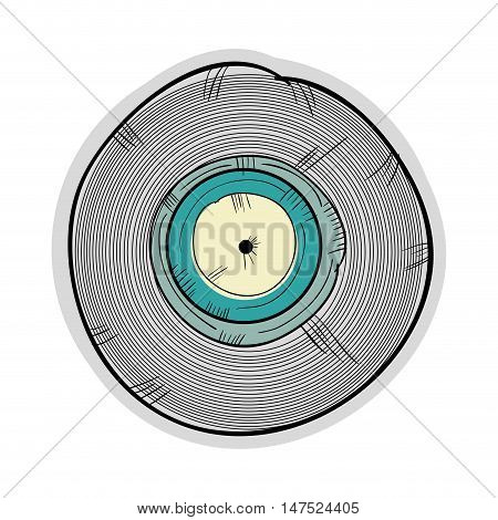 long play with blue label. retro vinyl object. draw design vector illustration