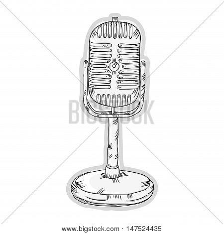 retro radio microphone. communication and audio device. vector illustration