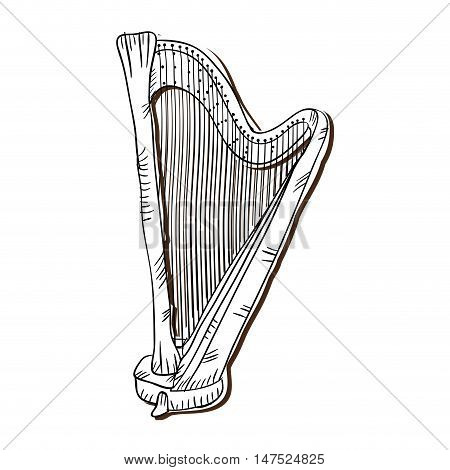 harp musical instrument. traditional music element. vector illustration