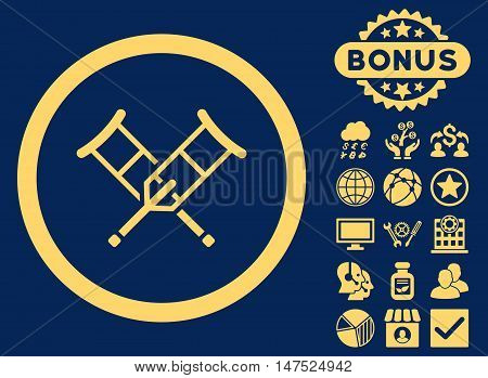 Crutches icon with bonus elements. Vector illustration style is flat iconic symbols, yellow color, blue background.