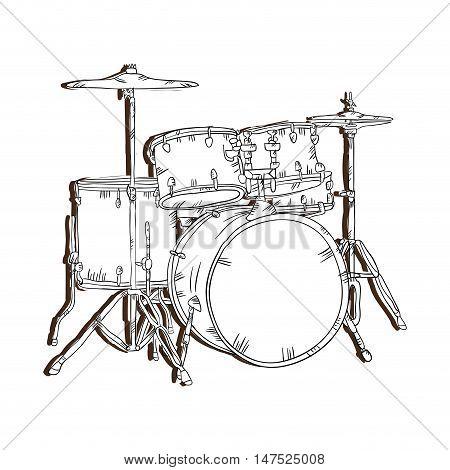 drum set  musical instrument. traditional music element. vector illustration