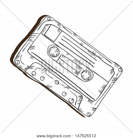 retro cassette vintage stereo tape. draw design. vector illustration