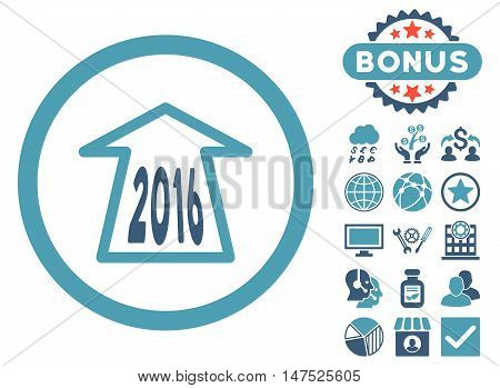 2016 Ahead Arrow icon with bonus pictogram. Vector illustration style is flat iconic bicolor symbols, cyan and blue colors, white background.