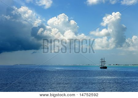 Pirate ship sailing on Caribbean waters in the Cayman Islands