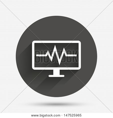 Cardiogram monitoring sign icon. Heart beats symbol. Circle flat button with shadow. Vector