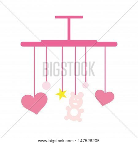 baby bed pink carousel with stars and hearts. newborn hanging toy. vector illustration