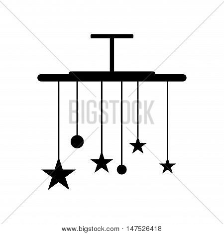 baby bed carousel with stars and balls. newborn hanging toy. vector illustration