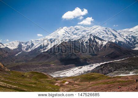 Pamir mountains. Road to the Lenin peak Camp I.