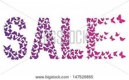 decorative inscription SALE With Violet And Pink Butterflies