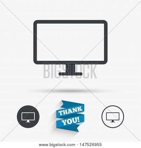 Computer widescreen monitor sign icon. Flat icons. Buttons with icons. Thank you ribbon. Vector