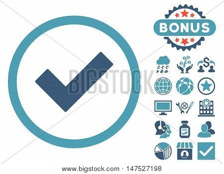 Accept icon with bonus design elements. Vector illustration style is flat iconic bicolor symbols, cyan and blue colors, white background.