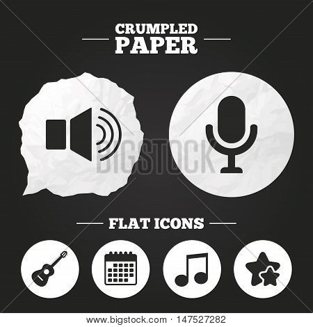 Crumpled paper speech bubble. Musical elements icons. Microphone and Sound speaker symbols. Music note and acoustic guitar signs. Paper button. Vector