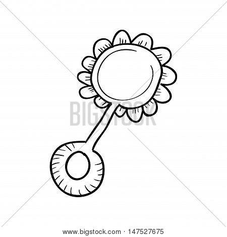 baby rattle toy flower shape. draw design. vector illustration