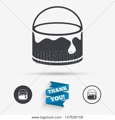 Bucket of paint icon. Painting works sign. Painter equipment. Flat icons. Buttons with icons. Thank you ribbon. Vector