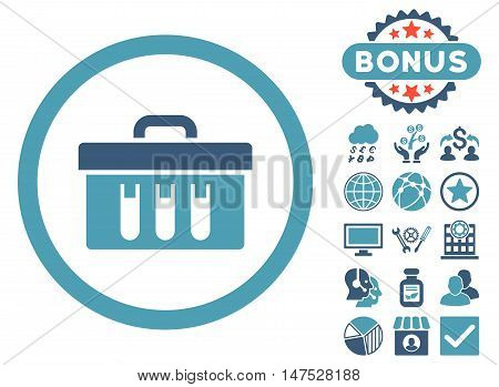 Analysis Box icon with bonus pictures. Vector illustration style is flat iconic bicolor symbols, cyan and blue colors, white background.