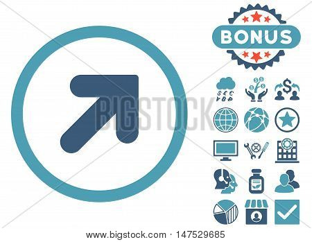 Arrow Up Right icon with bonus design elements. Vector illustration style is flat iconic bicolor symbols, cyan and blue colors, white background.