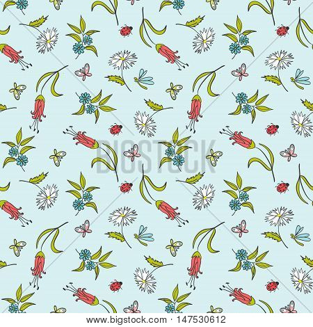 gentle blue seamless floral pattern with butterflies