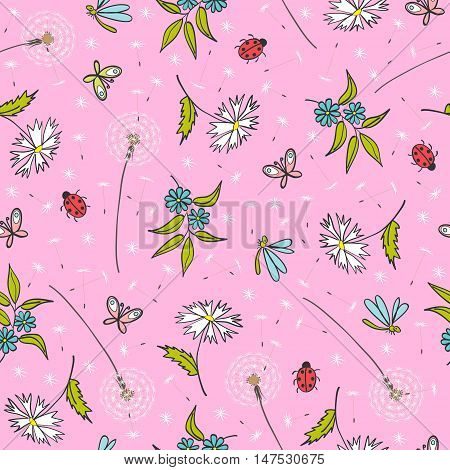 gentle pink floral seamless pattern with dandelions